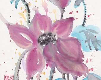 Lotus Flower Original Watercolor