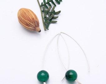Green Argate Simple 925 Silver Earrings