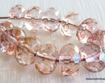 12 Pink Champagne Pink Luster Picasso Firepolished Rondelle 9x6mm Czech Glass Beads (GG- 48)