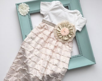Shabby chic baby GOWN in peach and gold.... limited edition-- new baby