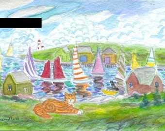 ORIGINAL Folk Art PAINTING, 2 Tabbies with Yachts at Peggys Cove, by DM Laughlin