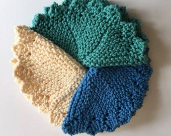 Cotton Washcloths - Set of 3 Handknit Round Washcloths in Blue, Green, and Cream