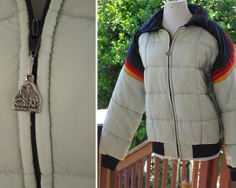 TAHOE Slopes 1970's 80's Vintage Men's Light Grey + Black Puffy Ski Coat w/ Fire Stripes // by PACIFIC Trail Sportswear // size Large