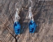 Blue Mirrored Coffins and Seance Hands Earrings by Ugly Shyla