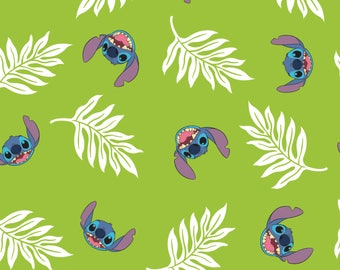 Palm Leaves in Dark Lime Lilo and Stitch Disney Woven Cotton Fabric BTY