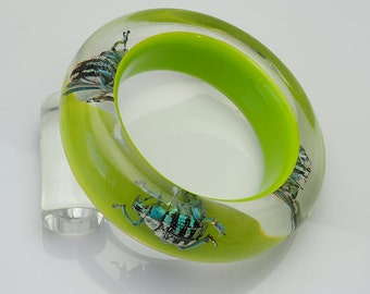 Chartreuse green lucite bracelet with real glowing insects