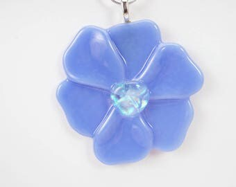 Periwinkle blue flower pendant, fused glass pendant, your choice of colors, flower ornament, pendant