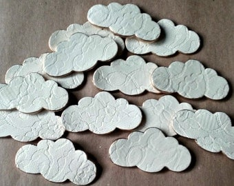 FOURTEEN Ceramic Clouds  Mosaic Tiles pendants Supplies edged in gold