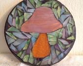 Purple Mushroom Stained Glass Mosaic