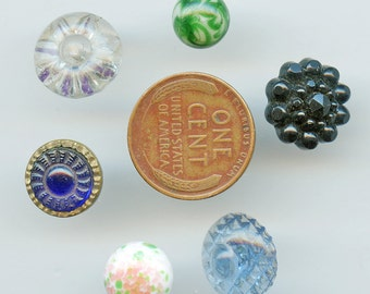 Victorian Buttons Glass (6) DIFFERENT COLORS  Vintage Various Shapes and Sizes  Lot Antique 3004