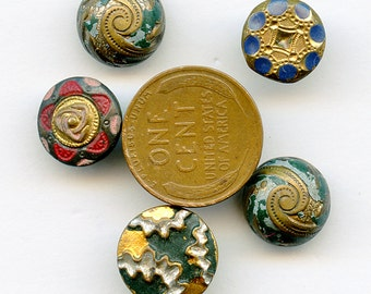 Lot Victorian (5) Painted Buttons size Small Floral Brass Edwardian Antique Buttons 3086