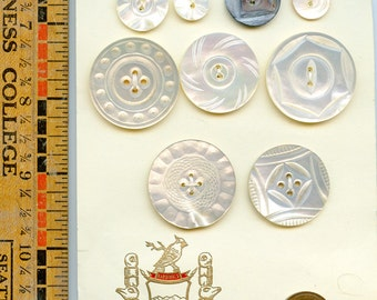 Lot of (9) Carved Shell Buttons Vintage and Antique Mother of Pearl Variety 3437