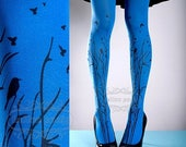 ON SALE/// Tattoo Tights -  blue one size Forest Symphony full length closed toe printed tights pantyhose, tattoo socks, printed nylons