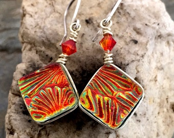 Dichroic Glass Earrings- Wire Wrapped Orange Red Fused Glass