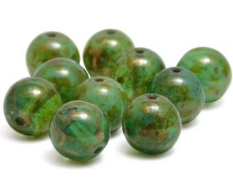 Round Beads - 10mm - Green Round - Green Beads - Czech Picasso Beads - Czech Glass Beads - Large Round  - 10pcs (4495)
