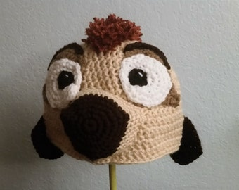 Crochet Timon the Meerkat Hat - Cartoon Costume Hat - Lion King - Silly and Chunky Crochet Hat