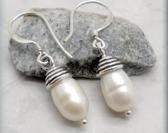 White Pearl Drop Earrings with Bali Cap, Sterling Silver, Wedding Earrings, Pearl Bali Earrings, Dangle Earrings, Bridal Earrings (SE524)