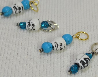 NEW Fun Stitch Markers - Dress Up Your Knitting! Skulls and Blue Beads - Fits up to size 9 US needle