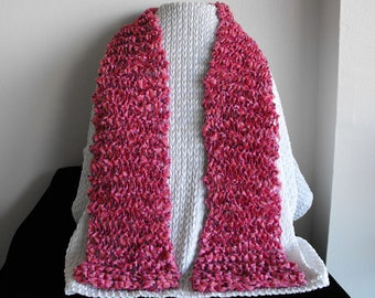Pink Ribbon Scarf FREE SHIPPING Summer Machine Wash Dry Flat, Hand Knitted, Acrylic Blends, Light Weight, 4 by 40 inches, Mothers Day, Date