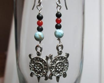 Turtle Earrings with Stone Beads