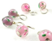 Rosy Rose Droplet Stitch Markers Knitting or Crochet (Choose Your Size - Set of 10)