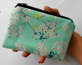 Zipper Pouch Little Padded Coin Purse ECO Friendly NEW Rainwater Blooms