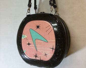 Atomic Boomerang and Glitter Vinyl Handbag - Shoulder Bag - Headset Case