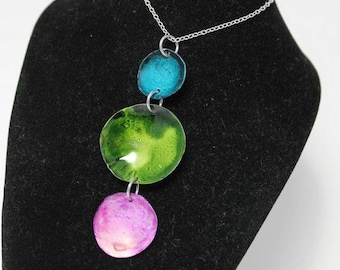 Turquoise, Green and Pink Disk Pendant Necklace AIN5