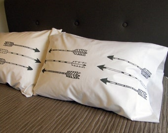 Arrows Pillow Case Set of 2, Standard or King Size, Hand Printed Cotton 300TC, His and Hers Pillows, Valentine Gift, Anniversary Gift