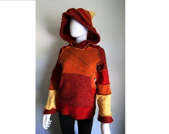 Fire Breather: Upcycled Wool Hoodie Sweater Child Youth Unisex Gender Neutral