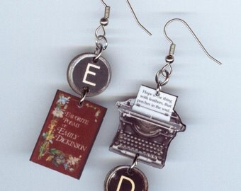 Book Typewriter Literary earrings - Emily Dickinson quote - asymmetrical mismatched jewelry designs by Annette - poetry bookish reader gift