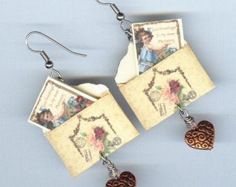 Mother's day Card earrings - miniature cards in envelopes - customizable personalize - gift for Mom - Victorian greeting roses
