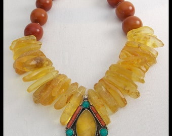 NEPAL SUNRISE - Handmade Tibetan Silver & Gems Pendant - Dramatic Amber Statement Necklace