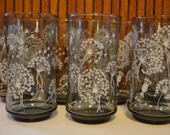 Vintage Libby Dandelion Puffs Drinking Glasses (Set of 7) - Royal Hill Vintage