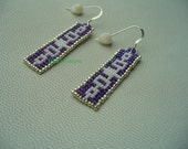 Native American Style loomed Iroquois style earrings in purple white and silver
