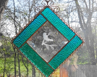 Textured Green Chickadee Stained Glass Suncatcher, Stained Glass Bird Beveled Panel, Beveled Chickadee Stained Glass, Garden Art