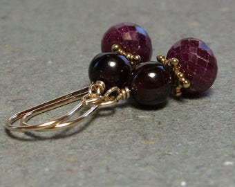 Ruby, Garnet Earrings Red Gemstones Gold Earrings Gift for Her Gift for Mom