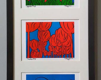 "Capitol Tulip Pop ~ Framed set of prints that POP ~ 20""x10"" ~ FREE SHIPPING ~ Signed art by Joel Traylor"