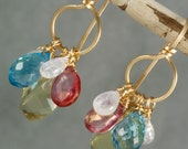 FINAL SALE - Lemon Quartz Blue Topaz Mystic Topaz & Rainbow Moonstone Chandelier Earrings