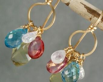 FINAL SALE - Lemon Quartz Blue Topaz Mystic Topaz & Rainbow Moonstone Chandelier Earrings