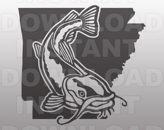 Arkansas Catfish SVG File,Fishing SVG -Vector Clipart for Commercial & Personal Use- svg file for Cricut,Silhouette Cameo,iron on vinyl,htv