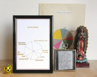 Not By Prayer: original artwork | collage postcard | collectible diagram poem