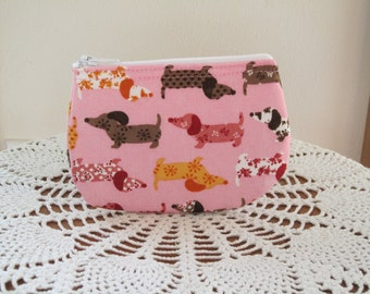 Doxies on Parade Coin Business Card Clutch Zipper Small Essential Oils Case Gift Card Holder in Dachshund in Pink   Made in the USA