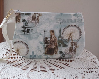 Shabby Chic Clutch Wristlet Zipper Gadget Pouch Smart Phone Bag in Scenes of Paris