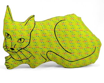 decorative pillow, cat pillow, kitty pillow, kitty shaped, animal pillow, big relaxed cat shaped lime green graphic patterned fabric
