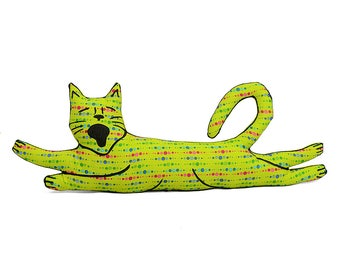 decorative pillow, cat pillow, kitty pillow, animal pillow, flying cat shaped medium pillow kitty softie lime green graphic patterned fabric