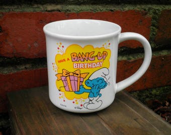Vintage Jokey Smurf Collectible Birthday Present Coffee Cup Mug from 1982 - Have A Bang Up Birthday Smurfs Collectors Tea Cup Retro Gift