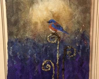 No.33 Bluebird - Wet Felted wall hanging
