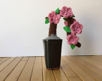 Pink Azalea - Kengai - Cascade - Mini Amigurumi Bonsai