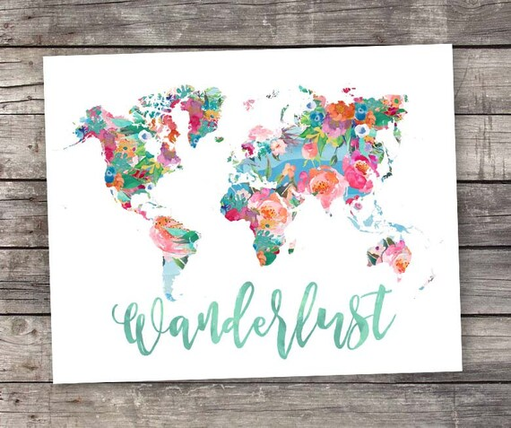 World map printable art wanderlust floral watercolor world world map printable art wanderlust floral watercolor world map geography print travel decor art printable wall art wanderlust travel art sciox Image collections